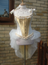 White & Gold Corset with Tulle Bustle